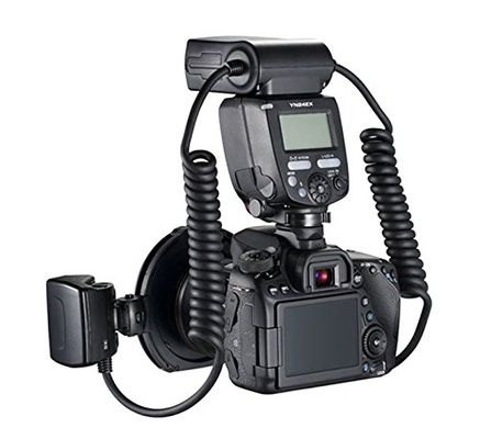 YONGNUO YN-24EX Macro Ring Flash Speedlite with 2 Flash Head 4 Adapter Rings for Canon