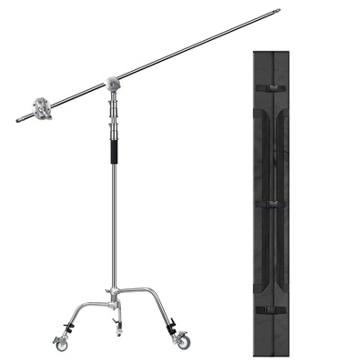 EACHSHOT C Stand with Bag Wheels 100% Metal Max Height 10.8ft/330cm Adjustable Reflector Stand with 4.2ft/128cm Holding Arm and 2 Pieces Grip Head for Photography Studio Video Reflector, Monolight and Other Equipment