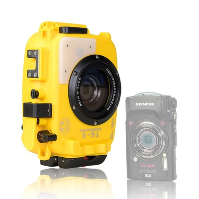 DF Seafrogs 60M/195ft Underwater Diving Waterproof Camera case for Olympus TG5 - Yellow