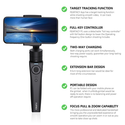 Filmtacy Handheld Gimbal, Smartphone Stabilizer for iPhone 11/11pro/11pro max/Xs/Xs Max/Xr/X, for Android, Samsung, Lightweight Extended and Foldable, Perfect Tool for Vlog YouTube Live Video