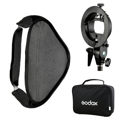 Godox S-Type Speedlite Bracket Bowens Mount Holder + 60 x 60cm Softbox for Studio Photography