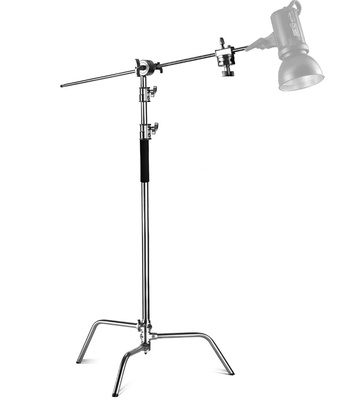 EACHSHOT C Stand 100% Metal Max Height 10.8ft/330cm Adjustable Reflector Stand with 4.2ft/128cm Holding Arm and 2 Pieces Grip Head for Photography Studio Video Reflector, Monolight and Other Equipment