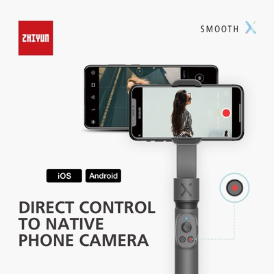 Zhiyun Smooth X  2- Axis Smartphone gimbal Stablizer for iPhone 11 Pro Xs Max Xr X 8 Plus 7 6 SE Android Smartphone Samsung Galaxy Note10 S10-White