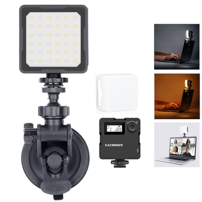 Led Video light with Suction Mounting Cap Kit, Video Conference Lighting Kit, for  Laptop MacBook Video Conferencing, Zoom Meeting Calls, Self Broadcasting, Live Streaming Youtube video filmmaking, EACHSHOT ES36