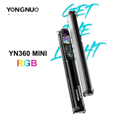 YONGNUO YN360 Mini RGB handheld Led video Light Stick Bi-color 2700K-7500K RGB Colorful Photography Lighting Tube Stick Light