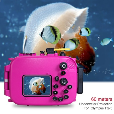 Seafrogs 60M/195ft Underwater Diving Waterproof Camera case for Olympus TG5 - Pink