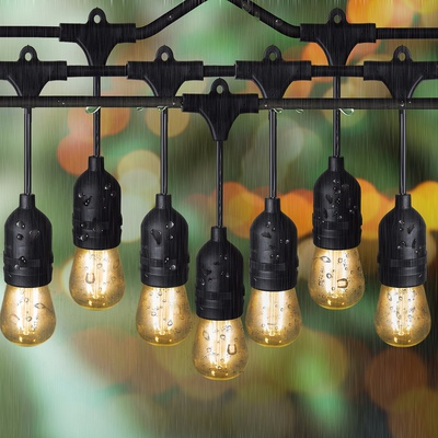 Sokani  LED edison outdoor hangling string lights for party 48 Ft Long with 15 Sockets and Bulbs + 3 Replacement Bulbs