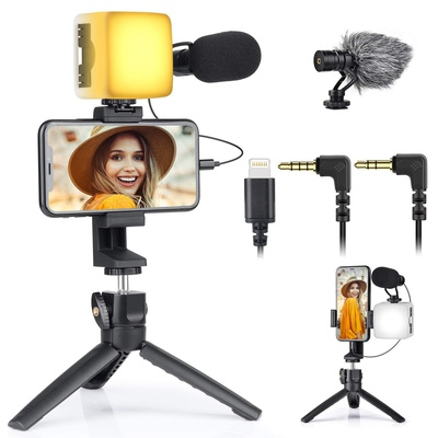 EACHSHOT Vlogging Kit Smartphone Video Kit Smartphone Camera Video Microphone Kit with LED Light + Microphone + Tripod + Phone Holder + 3pcs Cable for Vlogging/YouTube/TikTok/Facebook/Live