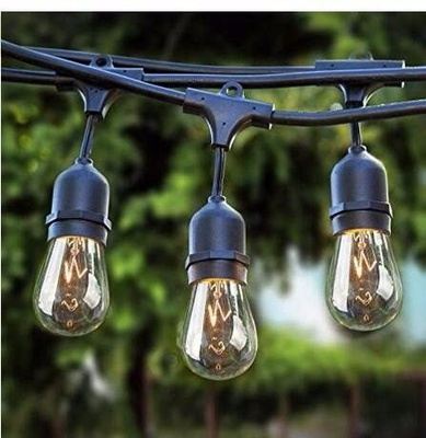 Sokani Commercial weatherprroof Grade Outdoor LED String light 24 Foot Long with 12 Sockets and Bulbs + 2 Replacement Bulbs